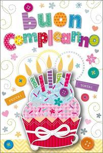 Biglietto compleanno Stitched White. Cupcake