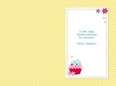 Biglietto compleanno Stitched White. Cupcake - 2