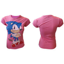 T-Shirt Donna Sega. Pink. Sonic The Hedgehog Girl's