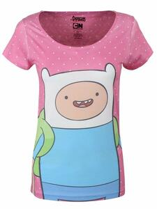 T-Shirt Donna Adventure Time. T-shirt Female Dotted Screen Printed