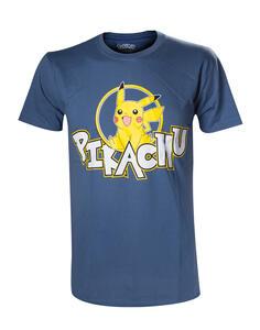 T-Shirt Unisex Tg. M Pokemon. Pikachu Frontprint Blue