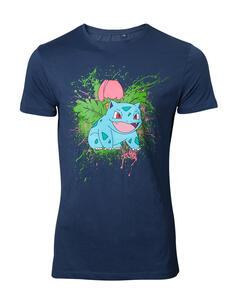 T-Shirt Unisex Pokemon. Navy Ivysaur Splatter Blue