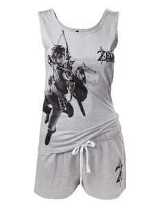 Zelda Breath Of The Wild. Female Nightwear Black Print. Xl Shortamas F Grey