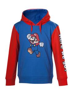 Felpa Con Cappuccio Bambino Tg. 86/92 Nintendo. Mario Here We Go