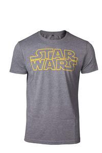 T-Shirt Unisex Tg. L Star Wars. Outlines Logo Grey