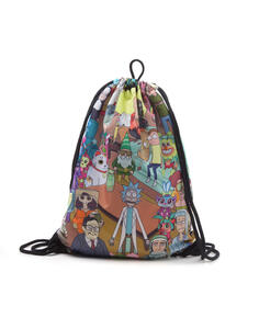 Borsa Ginnastica Rick And Morty. Placed Characters Sublimation Print Black