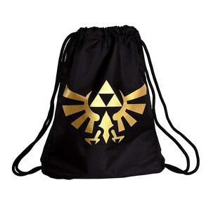 Zelda. Generic Metallic Gold Rubber Print Black Borsa Da Ginnastica