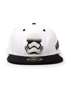 Cappello Star Wars. White Snapback With Storm Trooper Embroidery And Black Bill