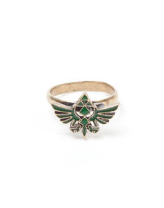 Anello Zelda. Ring With Green Triforce Logo Metal