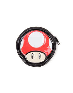 Nintendo. Mushroom Shaped Coin Pouch Wallets Zip Around F Red