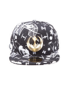 Cappellino Star Wars. Spaceships Snapback With Metal Rebel Logo Black