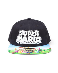 Cappellino Nintendo. Super Mario Black Snapback With Printed Bill Multicolor