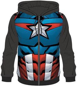Felpa Con Cappuccio Unisex Tg. S Avengers. Captain America Sublimated Black