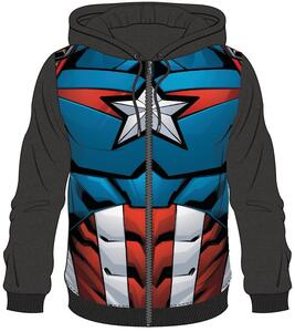 Felpa Con Cappuccio Unisex Tg. XL Avengers. Captain America Sublimated Black