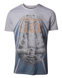 T-Shirt Unisex Tg. L Star Wars. Han Solo The New Millennium Falcon Grey