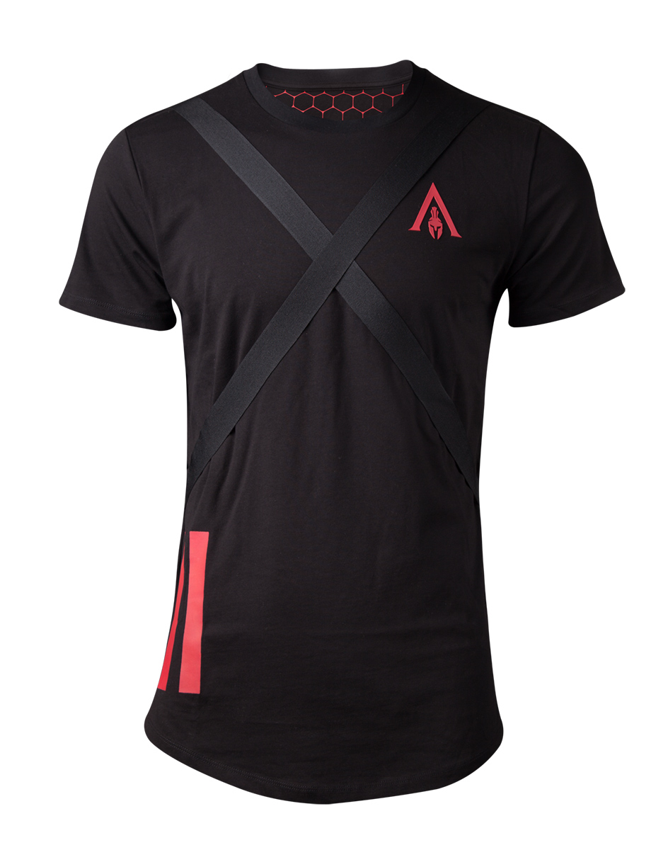 Image of Assassin'S Creed Odyssey - Tape Men'S Longline T-Shirt - S Short Sleeved T-Shirts M Black
