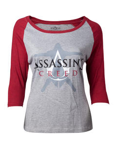 T-Shirt Donna Tg. L Assassin's Creed. Female Raglan Baseball Grey
