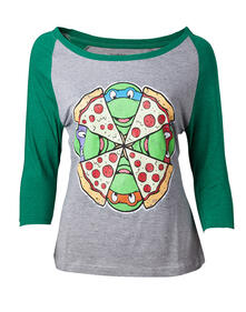 Maglia Donna Tg. S Teenage Mutant Ninja Turtles. Pizza Raglan Baseball Grey