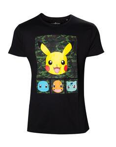 T-Shirt Unisex Tg. 2XL Pokemon. Black Camo