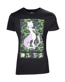 T-Shirt Unisex Tg. XL Pokemon. Mewtwo Camo Black