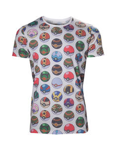 T-Shirt Unisex Tg. L Pokemon. Pokeball Allover Print Multicolor