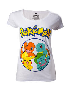 T-Shirt Donna Tg. M Pokemon. Starting Characters Grey