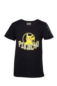 T-Shirt Bambino 122/128cm Pokemon. Kids Black Pikachu