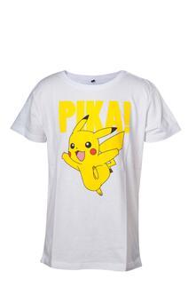 T-Shirt Bambino 122/128cm Pokemon. Kids White Pikachu