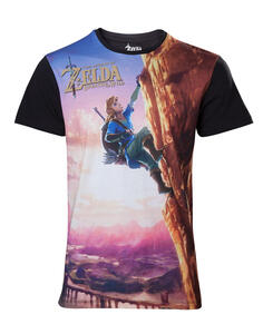 T-Shirt Unisex Zelda Breath Of The Wild. All Over Link Climbing
