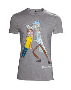 T-Shirt Unisex Tg. XL Rick And Morty. Distressed Grey