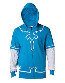 Felpa Con Cappuccio Unisex Tg. M Zelda. Link'S Breath Of The Wild Outfit Blue
