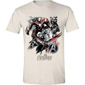 T-Shirt Unisex Tg. M Avengers: Infinity War. Characters Attack Beige