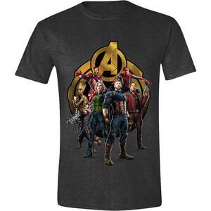 T-Shirt Unisex Tg. L Avengers: Infinity War. Characters Posing Anthracite Melange