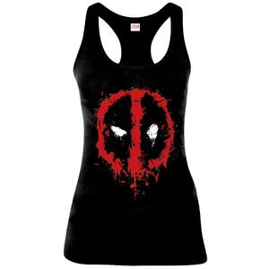 Canotta Donna Tg. S Deadpool. Splatter Logo Black