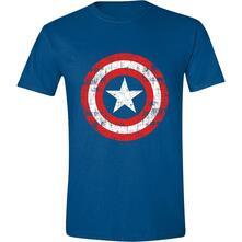 T-Shirt Unisex Tg. L Captain America - Cracked Shield Navy