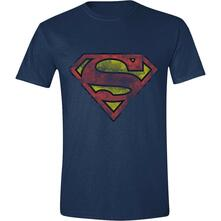 T-Shirt Unisex Superman. Heavy Destressing Logo Blue