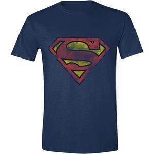 T-Shirt Unisex Superman. Heavy Destressing Logo Blue