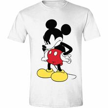 T-Shirt Unisex Tg. L. Disney: Mickey Mouse - Mad Face White