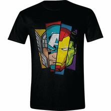 T-Shirt Unisex Tg. M. Marvel: Avengers - Faces Split Black