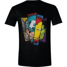 T-Shirt Unisex Tg. XL. Marvel: Avengers - Faces Split Black