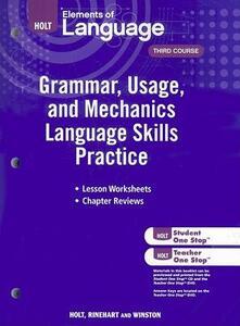 Elements of Language: Grammar Usage and Mechanics Language Skills Practice Grade 9 - cover