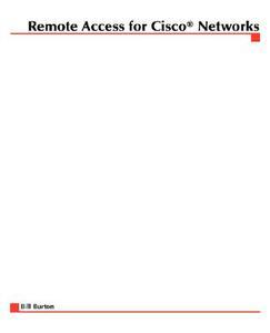 Remote Access for Cisco Networks - Bill Burton - cover