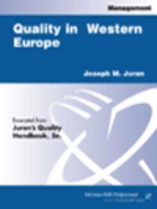 Foto Cover di Quality in Western Europe, Ebook inglese di Joseph M. Juran, edito da McGraw-Hill