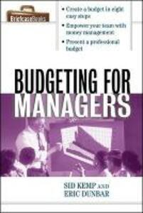 Budgeting for Managers - Sid Kemp - cover