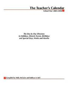 The Teacher's Calendar: The Day-By-Day Directory to Holidays, Historical Events, Birthdays and Special Days, Weeks and Months - Editors of Chase's - cover