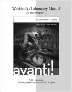 Libro Workbook-laboratory manual to accompany Avanti! Beginning italian Janice M. Aski , Diane Musumeci
