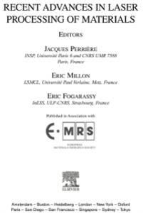 Ebook in inglese Recent Advances in Laser Processing of Materials -, -