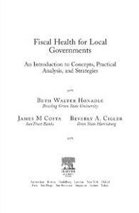 Ebook in inglese Fiscal Health for Local Governments Cigler, Beverly , Costa, James M. , Honadle, Beth Walter
