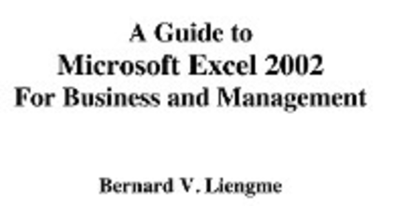 Ebook in inglese Guide to Microsoft Excel 2002 for Business and Management Liengme, Bernard