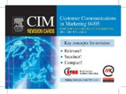 Ebook in inglese CIM Revision Cards: Customer Communications in Marketing 04/05 Knowledge, Marketing